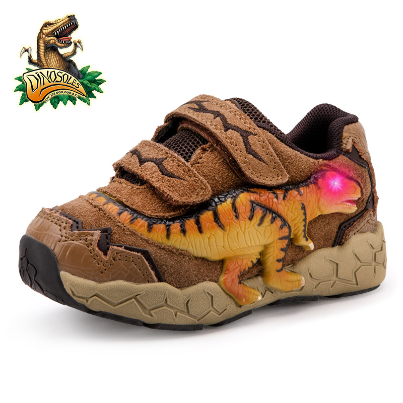 DINOSKULLS 3-9 Years Boys Dinosaur Glowing Sneakers 2019 Autumn Kids LED Sports Shoes With Light Leather Children's T-rex Shoes