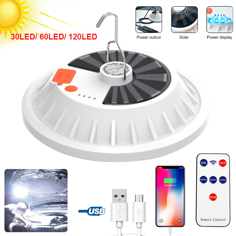 USB Rechargeable Phone Charger LED Camping Light Power Bank Lantern Outdoor Tent