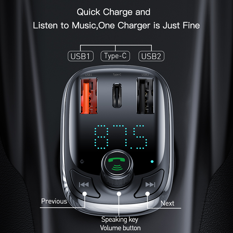 Image 5 - Baseus Quick Charge 4.0 3.0 USB Car Charger QC QC4.0 Bluetooth FM Transmitter Car Kit For iPhone 11 Pro Max 5A Fast PD Charger-in Car Chargers from Cellphones & Telecommunications