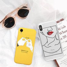 цены на LAUGH LIFE Transparent Phone Case For iPhone XR XSMax X XS Case Luxury Line Hand in Hand Clear Soft Tpu Cover for iPhone 6 7p 8p  в интернет-магазинах