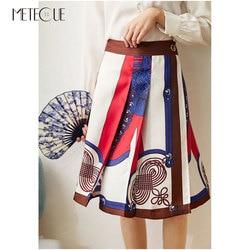 100% Sarga de seda falda de cintura alta 2020 Primavera Verano moda impreso falda envolvente Oficina señora una línea Midi falda