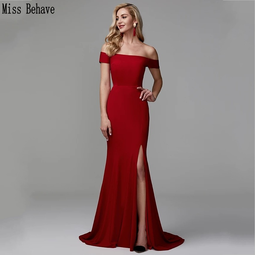 DD JYOY Elegant Off Shoulder Prom Dress Long Knitting Mermaid Evening Dress 2020 Front Splity Formal Dress Zipper Back