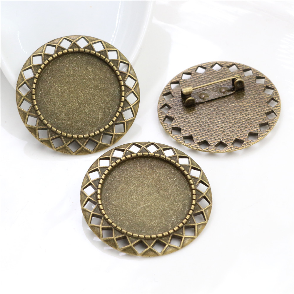 New Fashion 5pcs 25mm Inner Size Antique Bronze Brooch Pierced Style Cabochon Base Setting (A3-53)