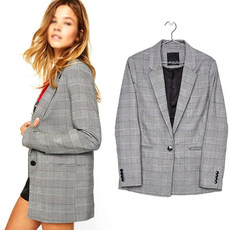 Hot Women Blazer Fashion Plaid Slim Blazers With Single Button Long Sleeve Stitching Office Lady Cardigan Blazers
