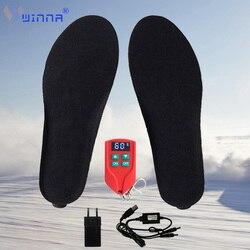 Unisex Elektrisch Beheizte Einlegesohlen mit LED Fernbedienung Große BK Tuch Atmungsaktive Heizkissen Winter Thermische Einlegesohlen 2000mAh