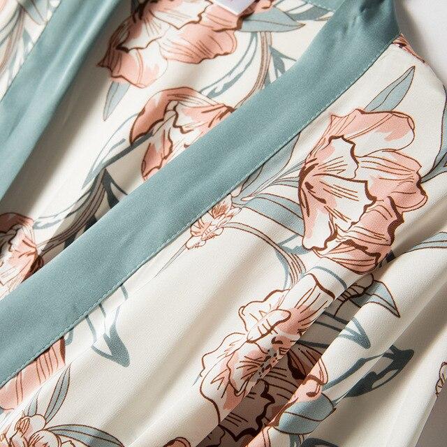 4 Piece Satin Touch Pajama Set 4