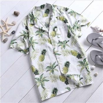 Summer Man Shirt Short Sleeve Shirt Men Summer Pineapple Print Shirts 2020 New Men Top Stand Collar Cotton Loose Hawaiian Shirt цена 2017