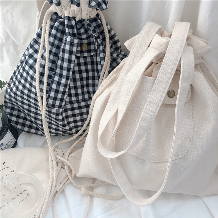 Cute Japanese Grid Fashion Tuition Bag Cotton Cloth Bag Students' Supply Convenient Storage Lovely Stationery