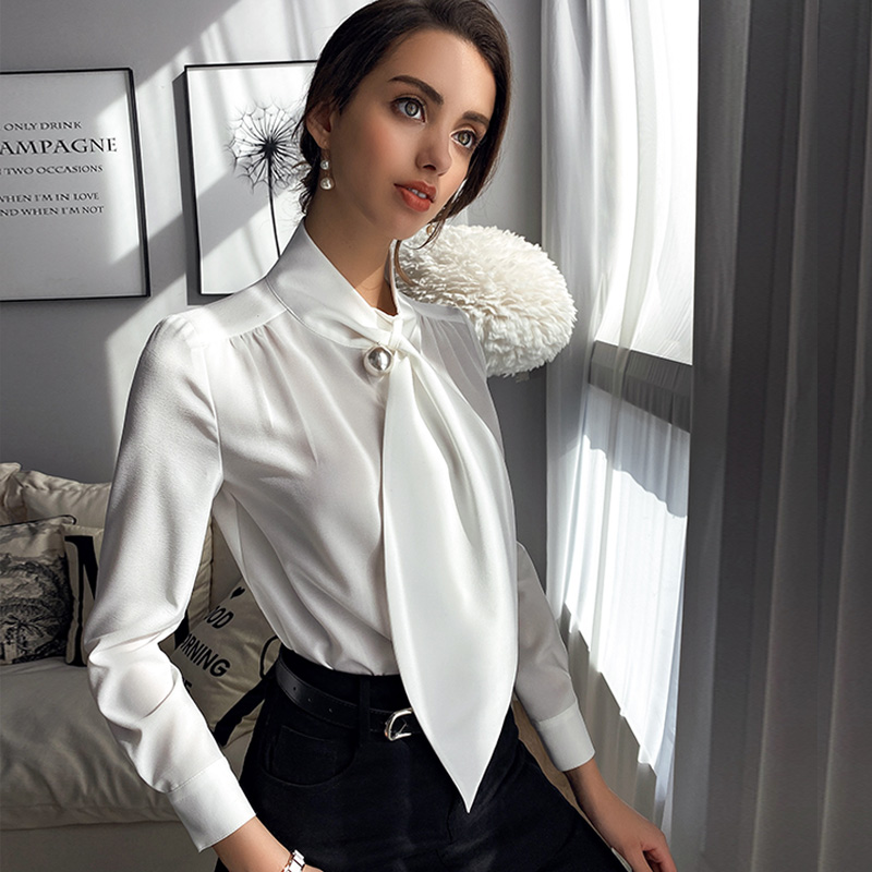 Dabuwawa Elegant White Tie Neck Plain Shirts Top Women Casual Long Sleeve Tops And Blouses Office Lady Female DT1AST002