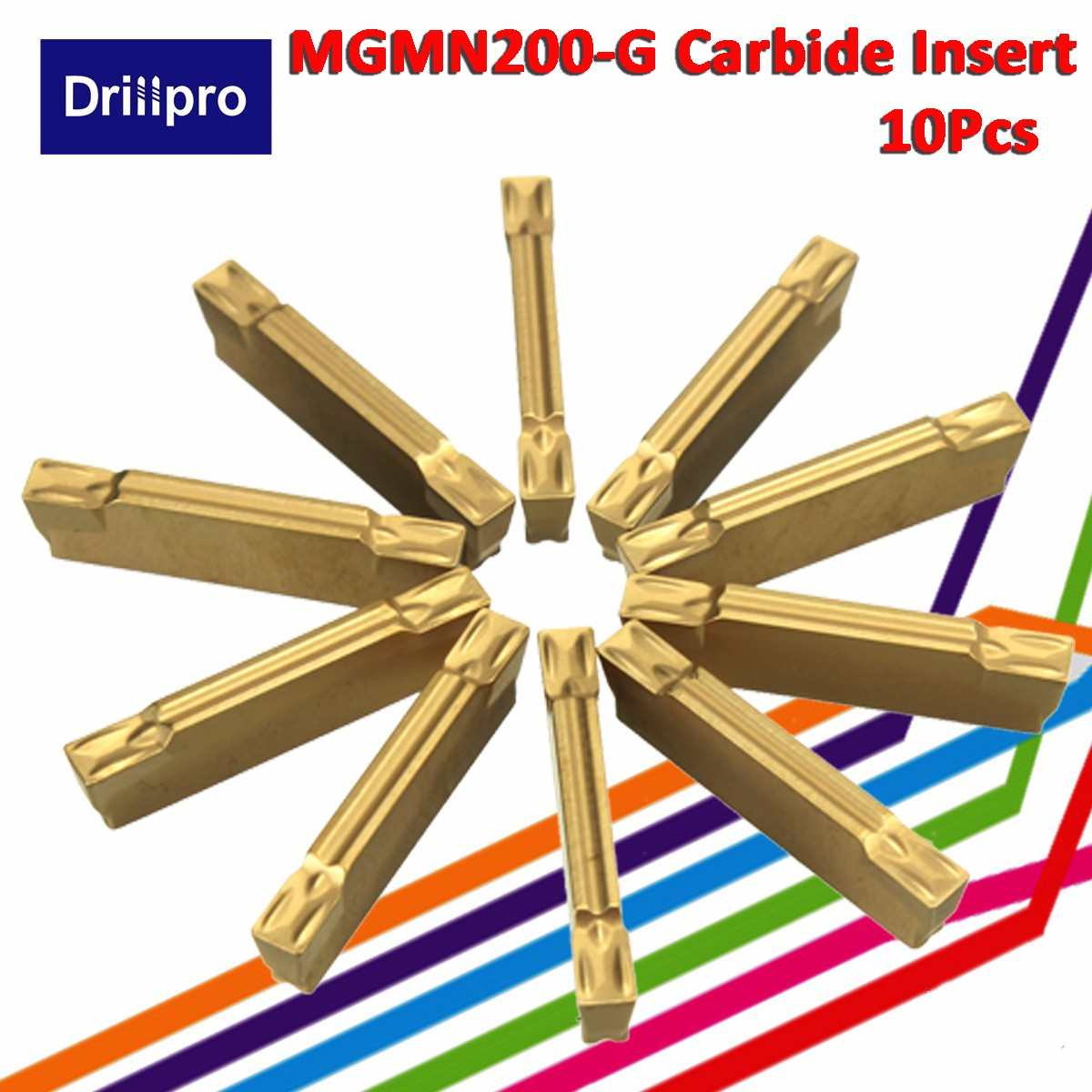 10pcs MGMN200-G 2mm Carbide Inserts for MGEHR//MGIVR Grooving Cut-Off Tool NEW