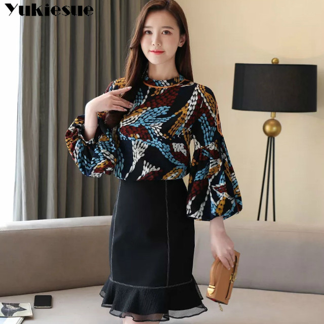 2020 summer long sleeve women's shirt blouse for women blusas womens tops and blouses printed shirts ladie's top plus size 5