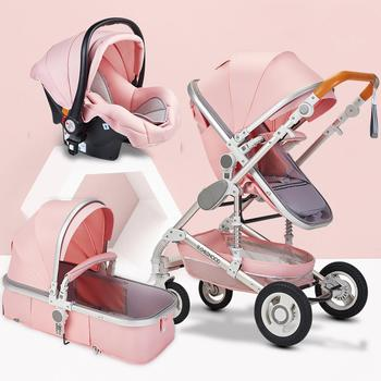 High Landscape Baby Stroller 3 In 1Portable Travel Baby Carriage Folding Shock Absorber Four Wheel Trolley Baby Pushchair 5 5kg high landscape baby stroller lightweight baby strollers foldable portable four wheel stroller baby carrier pushchair cart