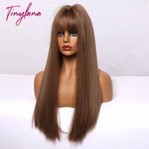 Image 4 - 小さなlanaオンブル茶色ブロンドロングストレート合成かつら女性のための前髪アフリカ耐熱ファイバー