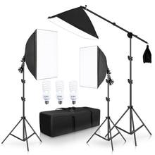 التصوير الفوتوغرافي سوفتبوكس طقم الإضاءة أضواء مستمرة معدات التصوير استوديو الملحقات مع نظام دعم الإطار ناتئ