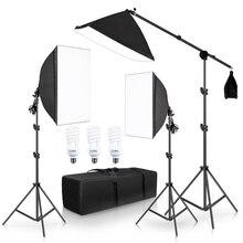 Fotografia softbox kit de iluminação luzes contínuas acessórios do estúdio do equipamento da foto com sistema do apoio do quadro do cantilever