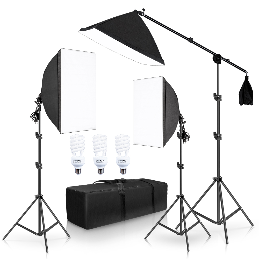 Photography Softbox Lighting Kit Continuous Lights Photo Equipment Studio Accessories With Cantilever Frame Support System