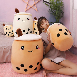 25-70cm cute cartoon Fruit bubble tea cup shaped pillow with suction tubes real-life stuffed soft back cushion funny boba food