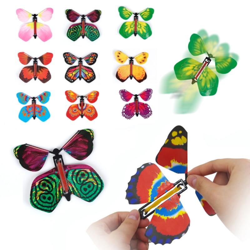 9 pçs brinquedo grande surpresa presente das crianças magia prop fadas voando no livro borboleta borracha banda alimentado vento acima borboleta