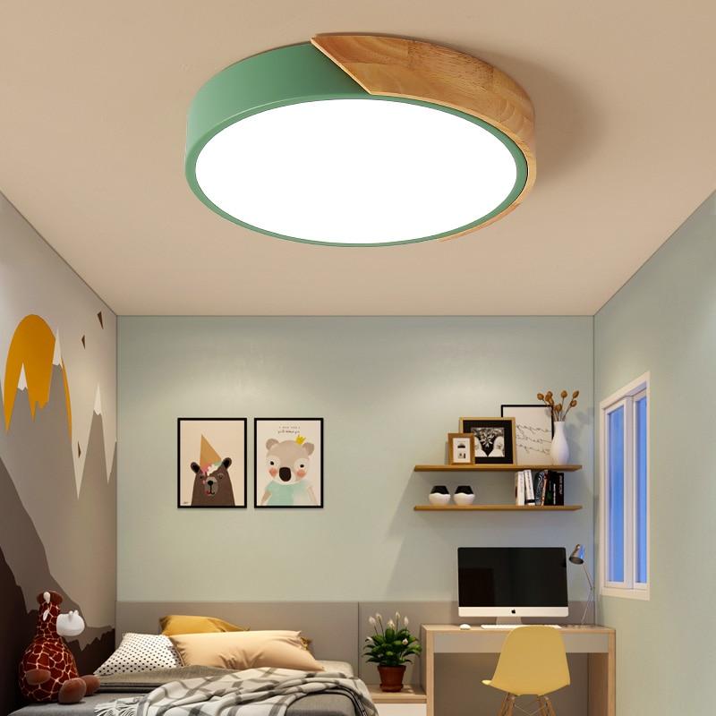 Moderne nordique bois plafonniers salon lampe Simple Macaron éclairage LED Hall lampes éclairage maison luminaires chambre