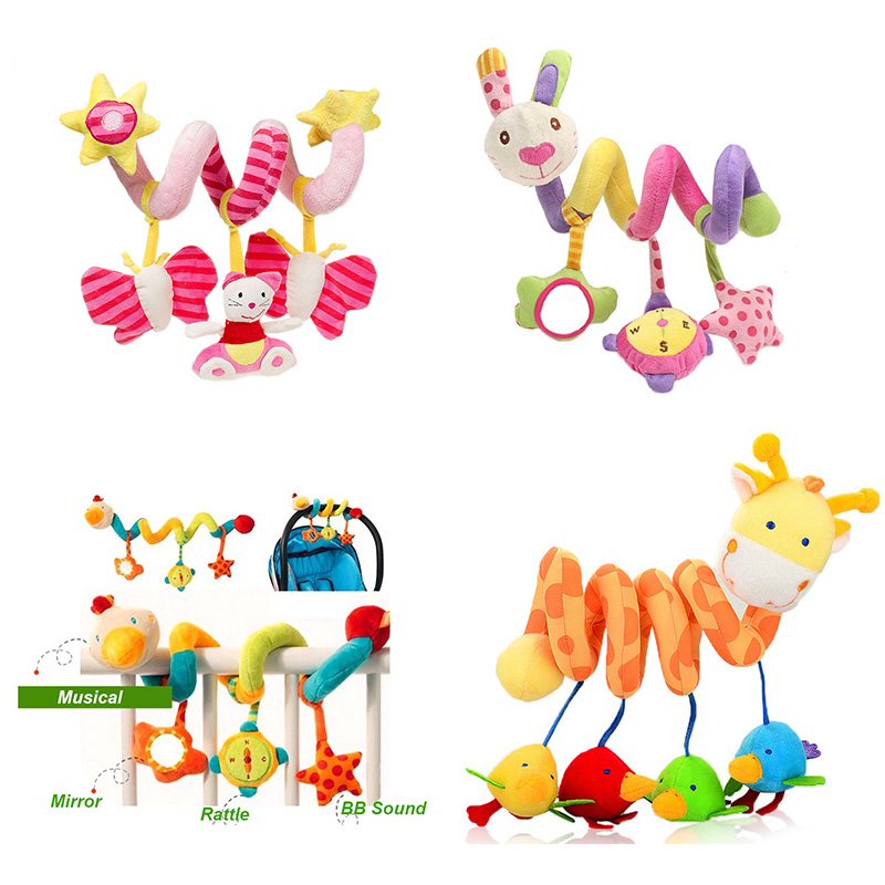 Baby Plush Rattle Toys Crib Stroller Spiral Hanging Mobile Infant Bed Animal Musical Toys Gift For Newborn Children 0-12 Months