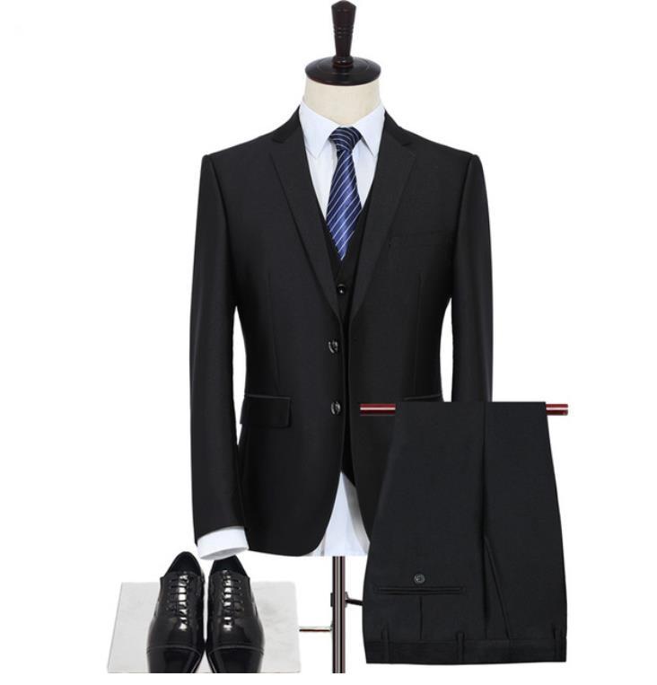 Jacket+Vest+Pants)Men Classic Black Suits Men's Wedding Suits Business Single Breasted High Quality Men's Business Blazer Tuxedo