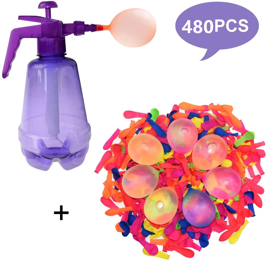 Funny Water Balloon Pumping Station with 480 Water Balloons and Water Pump Inflation Ball for Kids Birthday Bomb Random Color
