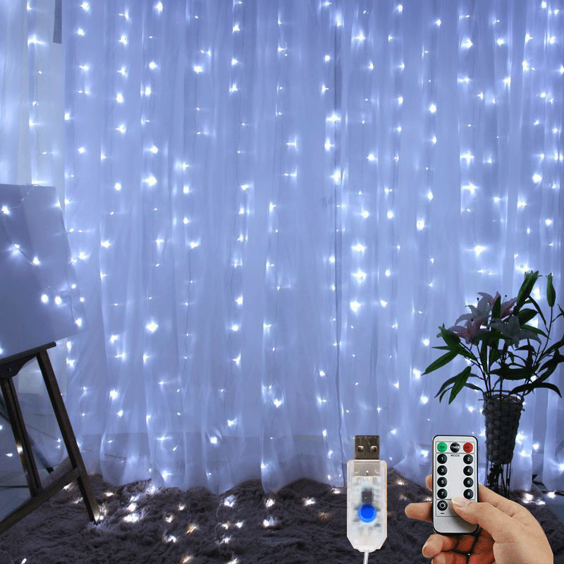 3X1m / 3X3m LED Curtain String Light 8 Mode Wedding Party Decoration USB Powered Copper Wire Light Fairy Bedroom Lighting String