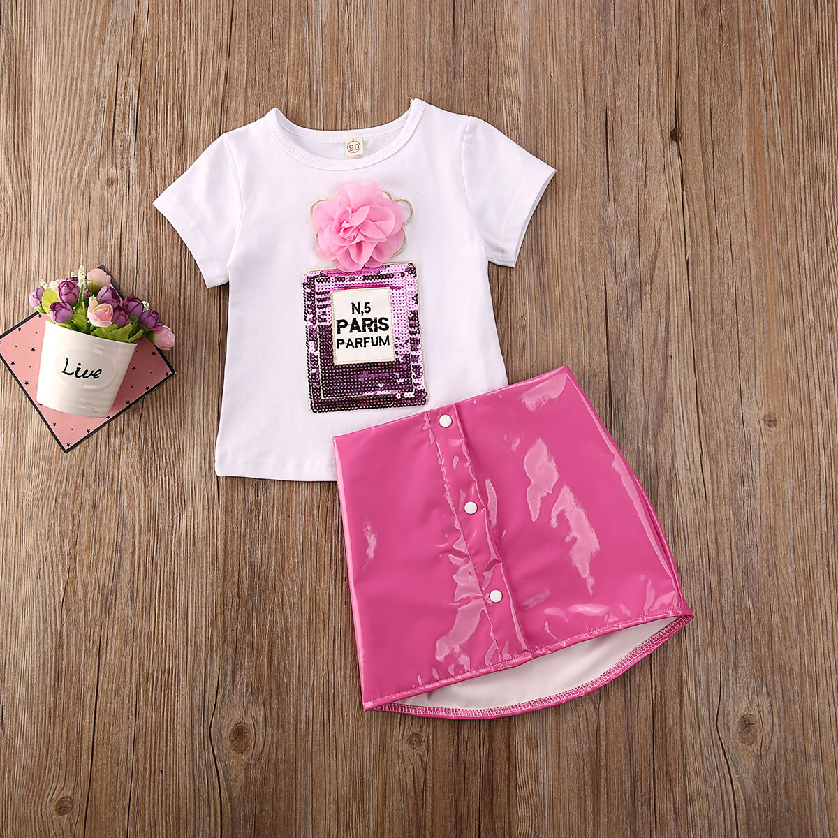 Pudcoco Newest Fashion Toddler Baby Girl Clothes Sequin 3D Flower Print T-Shirt Tops Leather Mini Skirt 2Pcs Outfits Clothes