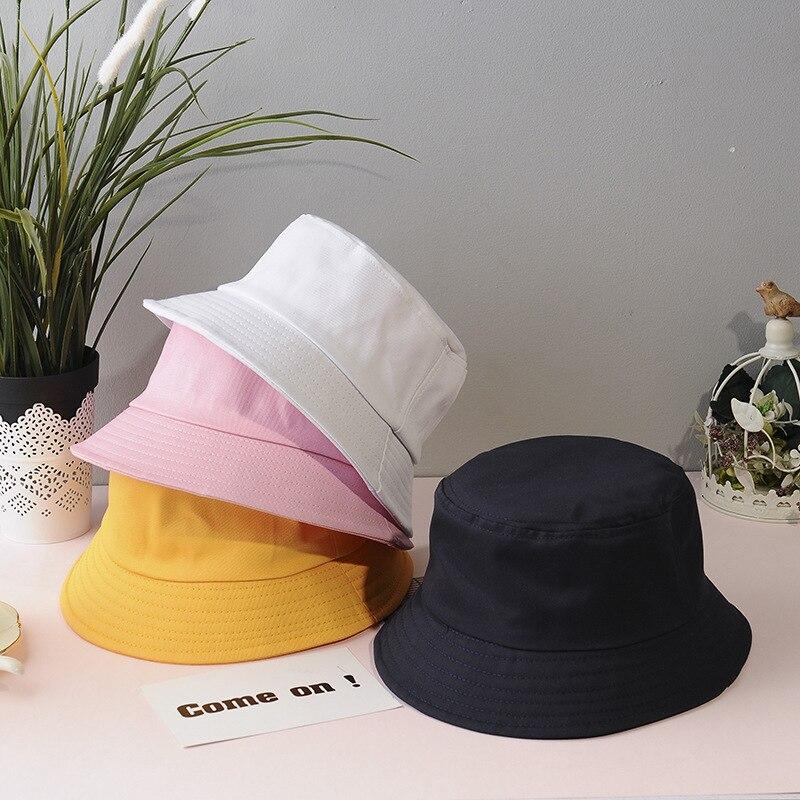 2020 Cotton Bucket Hats Men's Summer Sunscreen Caps Women Pure Color Sunbonnet Fedoras Outdoor Fisherman Hats Beach Hat Unisex