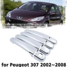 Luxo chrome maçaneta da porta capa de proteção guarnição para peugeot 307 2002 2003 2004 2005 2006 2007 2008 acessório do carro adesivo
