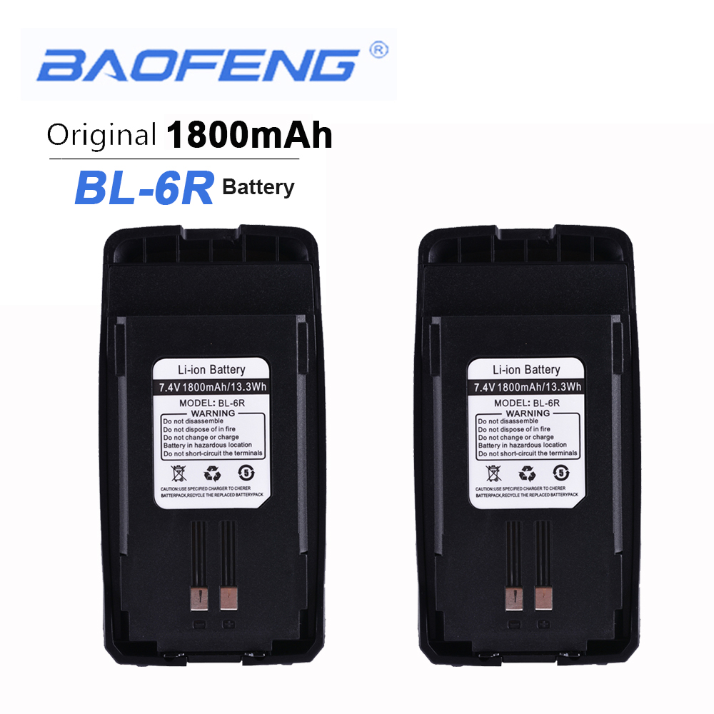 2PCS New Original Baofeng UV6R Walkie Talkie Battery 7.4V 1800mAH 13.3Wh Baofeng BL-6R UV-6R Headset Anytone Clip Baofeng Hands