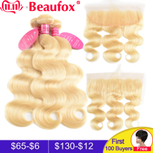 Beaufox Blonde-Bundles Lace-Frontal-Closure Human-Hair Body-Wave Brazilian with 613 Remy