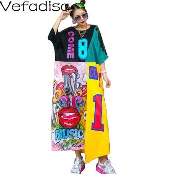 vefadisa plus size long dress graffiti print women dress 2020 lace patchwork summer asymmetrical dress white black qyf2690 Vefadisa Plus Size Long Dress Graffiti Print Women Dress 2020 Lace Patchwork Summer Asymmetrical Dress White Black QYF2690