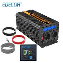 EDECOA inversor de potencia de onda sinusoidal modificada, DC 24V a AC 220V 2000w, con pantalla LCD, control remoto, 5V 2.1A, inversor de red USB
