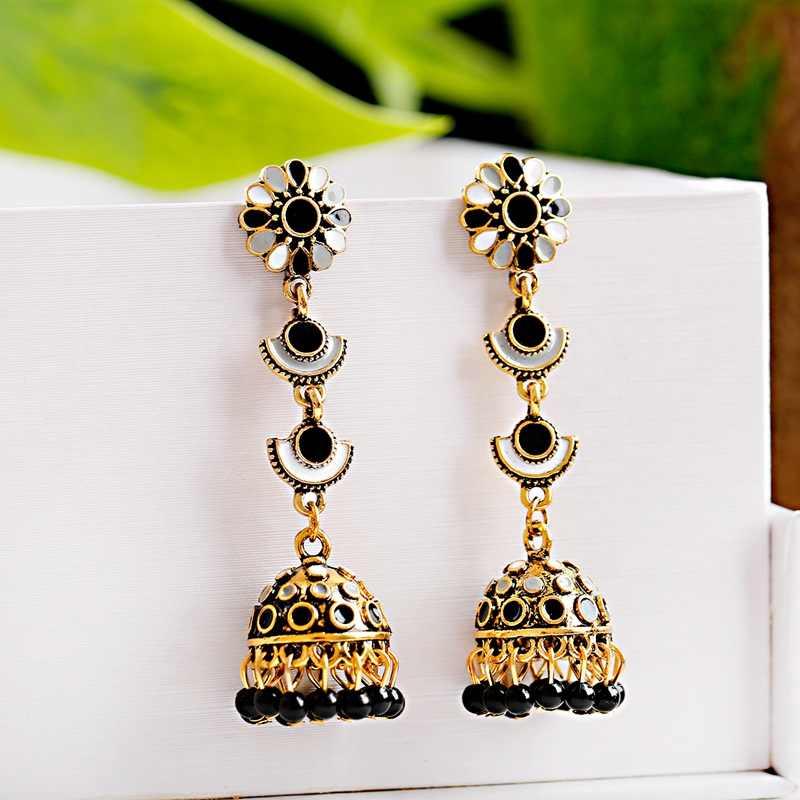 OIQUEI Antique femmes fleur sculpté indien boucles d'oreilles ethnique gitane Tribal bijoux rétro Bollywood Jhumka longues boucles d'oreilles bijoux