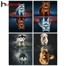 Huacan – peinture de diamant de chien, bricolage, Art de diamant, perceuse complète, mosaïque de renard, point de croix, décoration de maison, Animal