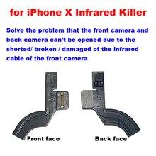 Pour iPhone X résoudre la caméra avant et la caméra arrière ne peut pas souvrir causée par la caméra frontale câble flexible infrarouge cassé court endommagé