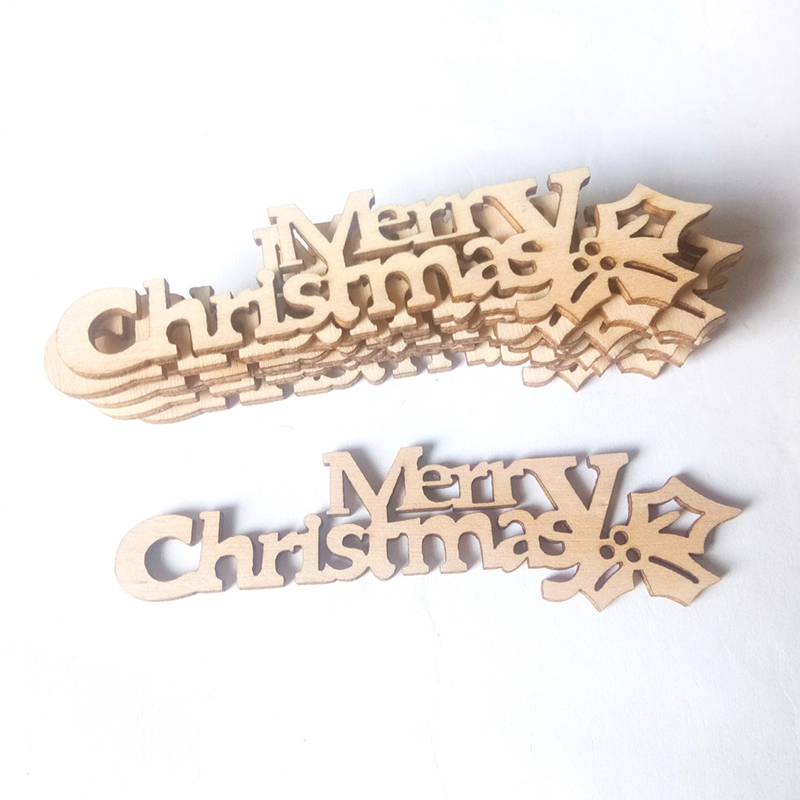 10pcs Handcraft Xmas Decor Merry Christmas Letter Carving Display Home Office Crafts Hanging Drop Ornaments