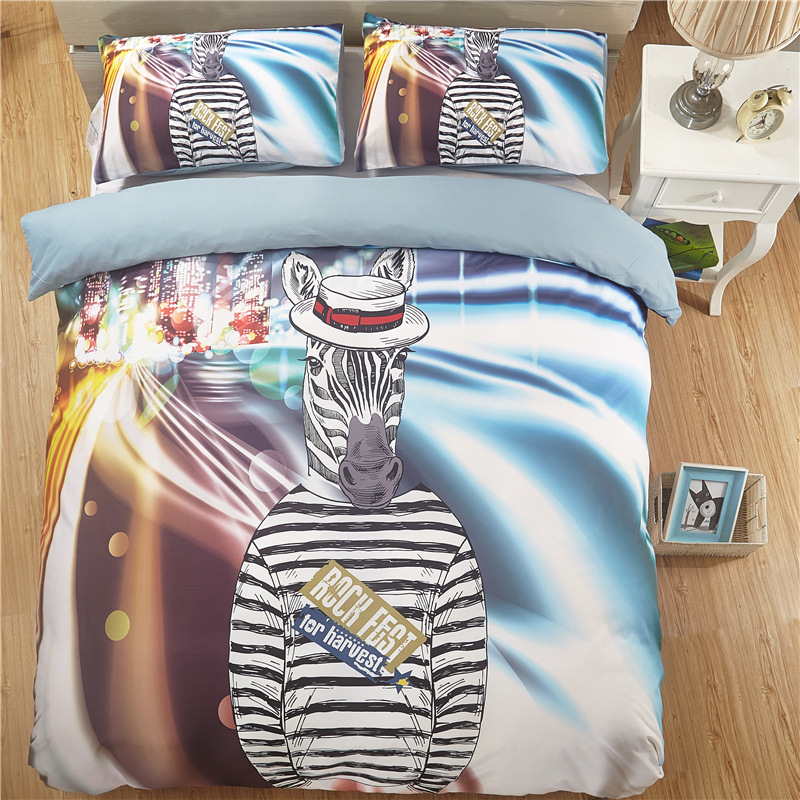 Export Horse Figure Animal Cartoon Quilt Cover Bedding Article 3D Digital Printing Three Four-piece Set