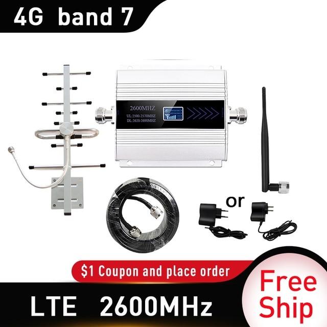 4G LTE DCS 2600 MHz Moblie Điện Thoại Booster 2600 Lặp Tín Hiệu Tăng 65dB Mạng 4G Di Động Khuếch Đại 5dBi roi Ăng Ten Trong Nhà