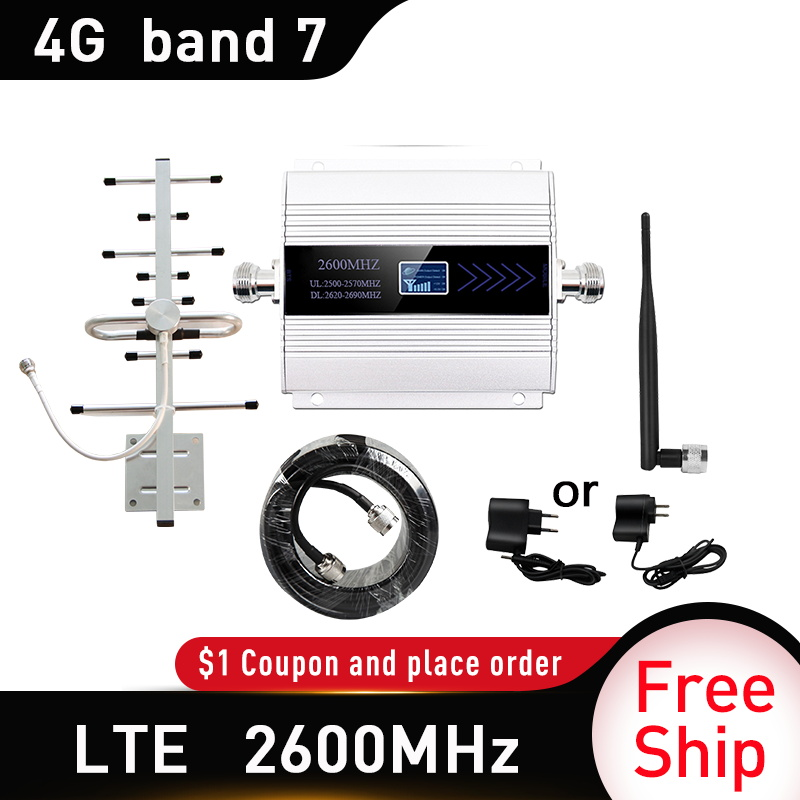 4G LTE DCS 2600mhz Moblie Phone Booster 2600 Signal Repeater Gain 65dB 4G Network Cellular Amplifier 5dbi Whip Indoor Antenna