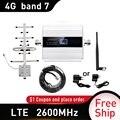 4G LTE DCS 2600mhz Moblie telefon Booster 2600 Signal Repeater Gain 65dB 4G Netzwerk Cellular Verstärker 5dbi peitsche innen antenne