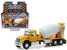 GL 1:64 2019 Mack Granite Cement Mixer Yellow and White alloy model Car Diecast Metal Toys Birthday Gift For Kids Boy(China)