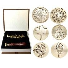 Moorlando Wax Seal Stamp Set, 6Pcs Botanische Zegellak Stempel Messing Koppen + 1Pc Houten Handvat Met Een Geschenkdoos Vintage