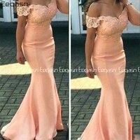 Eeqasn Mermaid Peach Lace Appliques Bridesmaid Dresses Off Shoulder Maid of Honor Dresses Mermaid robe de demoiselle