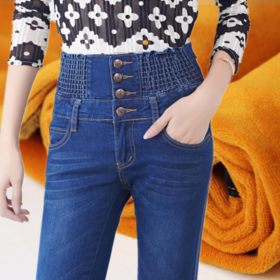 Womens Winter Jeans High Waist Skinny Pants Fleece Lined Elastic Waist Jeggings Casual Plus Size Jeans For Women Warm Jeans