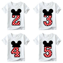 Baby Boys/girls Happy Birthday Letter Bow Cute Print Clothes Children Funny T Shirt,kids Number 1-9 Birthday Present(China)