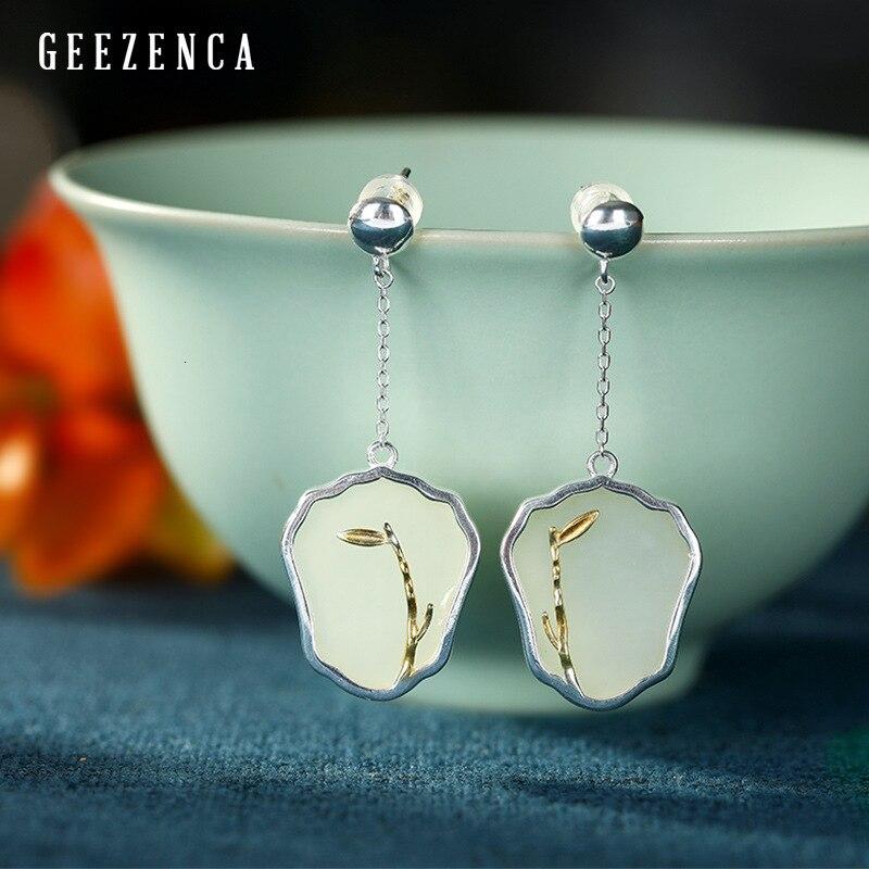 Réel 925 argent Sterling géométrie Hetian Jade boucles d'oreilles pour les femmes conception originale personnalité à la mode boucle d'oreille bijoux fins