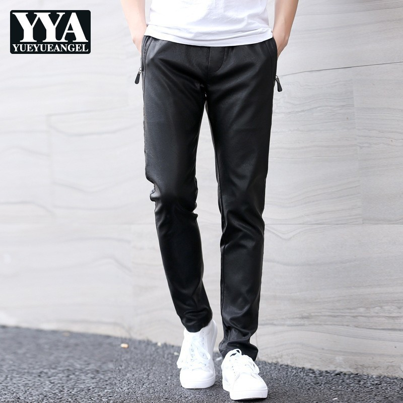 Mens Elastic Waist Pu Leather Harem Pants Straight Casual Streetwear Slim Fit Trousers Male Big Size Faux Leather Black Pants