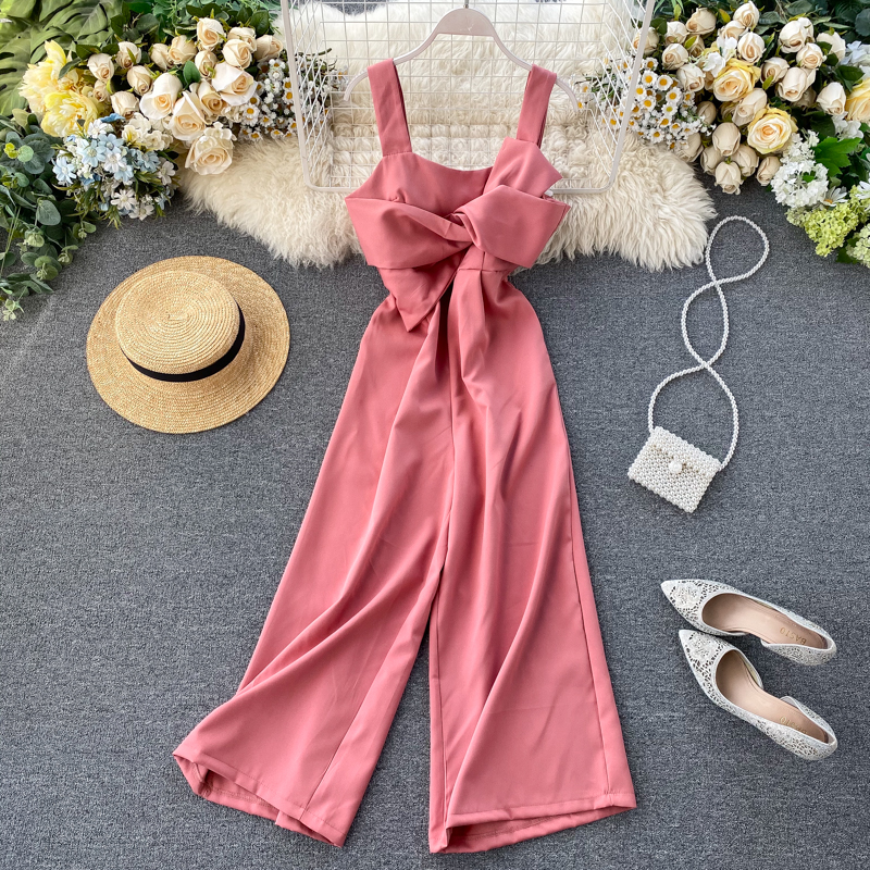 Teeuiear Slim 2020 Sexy Knot Jumpsuit Spaghetti Strap Rompers Summer Full Length Women High Waist Playsuit Casual Beach Romper